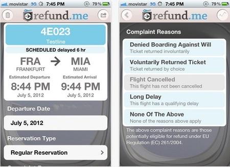 Aplicaciones viajeras: Refund.me
