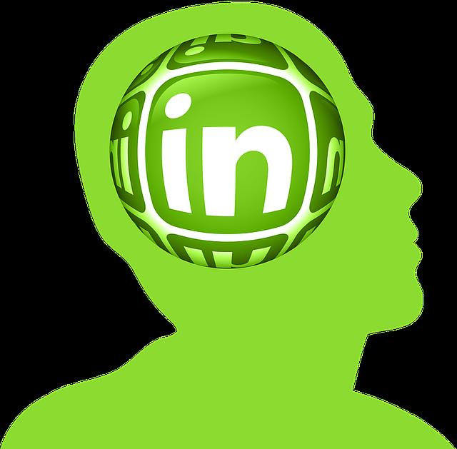 Silueta en verde con el logo de Linkedin.