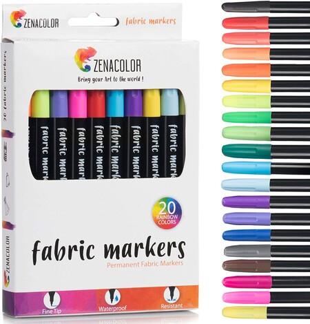 rotuladores punta fina contiene 20 rotuladores permanentes distintos con pintura para tela que te ofrece una amplia paleta de colores que te permitirá dar rienda suelta a tu creatividad