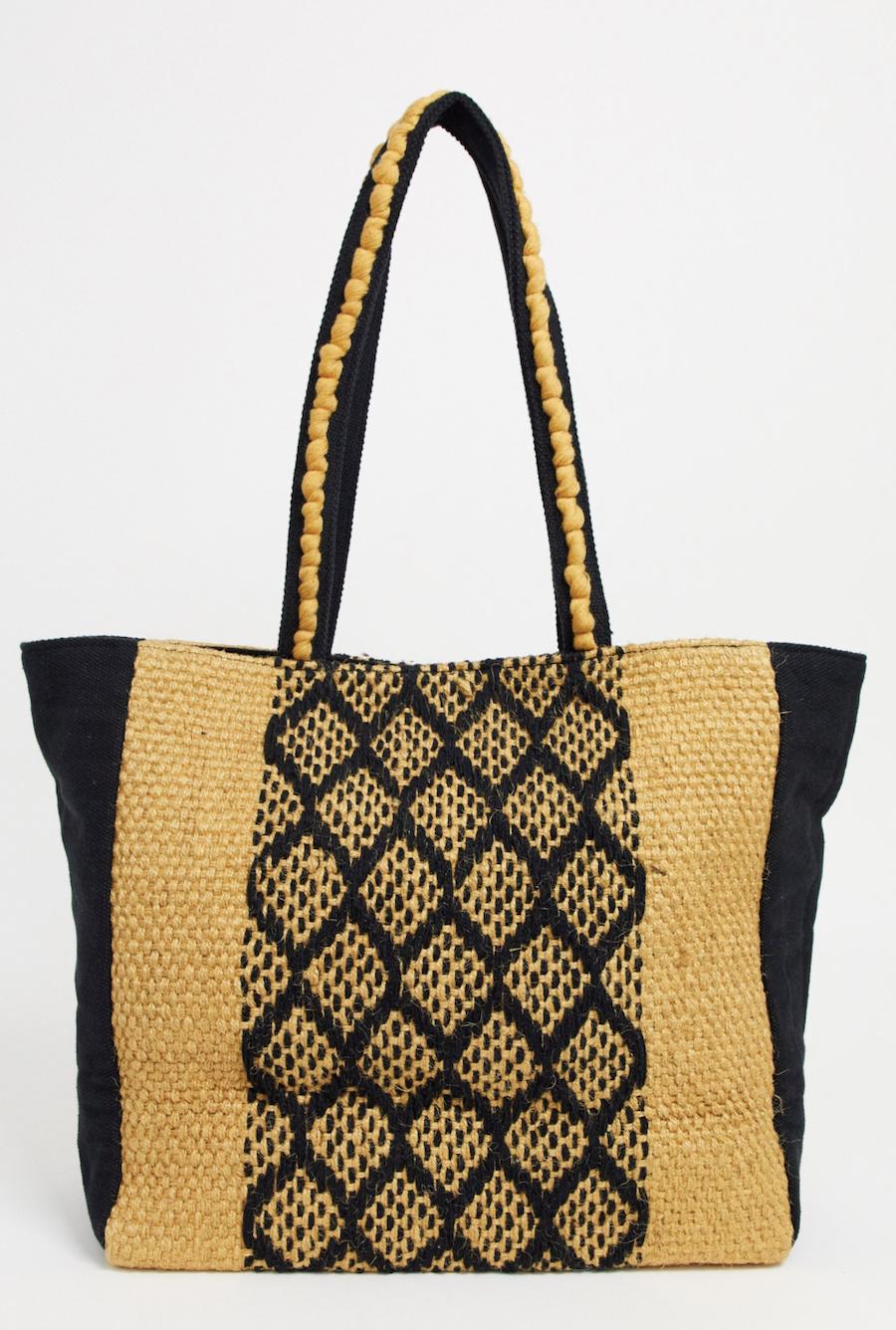 Bolso tote de playa de yute con diseño azteca de America & Beyond