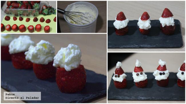 Santa Claus de nata y fresa