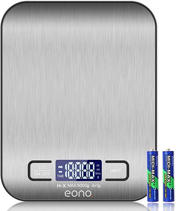 Amazon Brand - Eono Báscula de cocina digital báscula de acero inoxidable de con opción de gramos y onzas para hornear y cocinar 5 kg/1 g