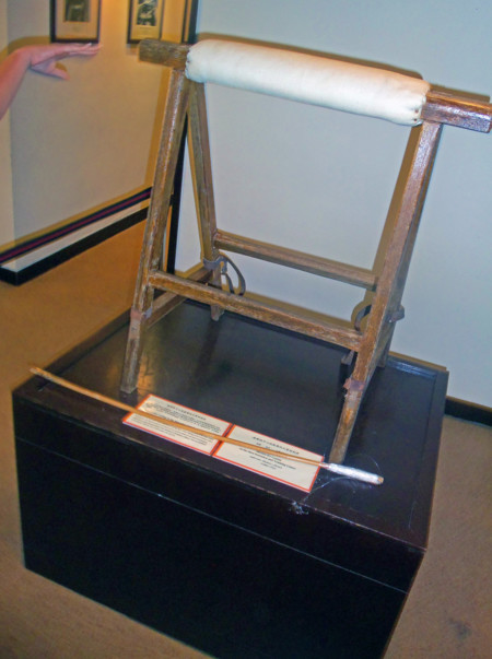 Caning Stand And Cane At Hong Kong Correctional Services Museum