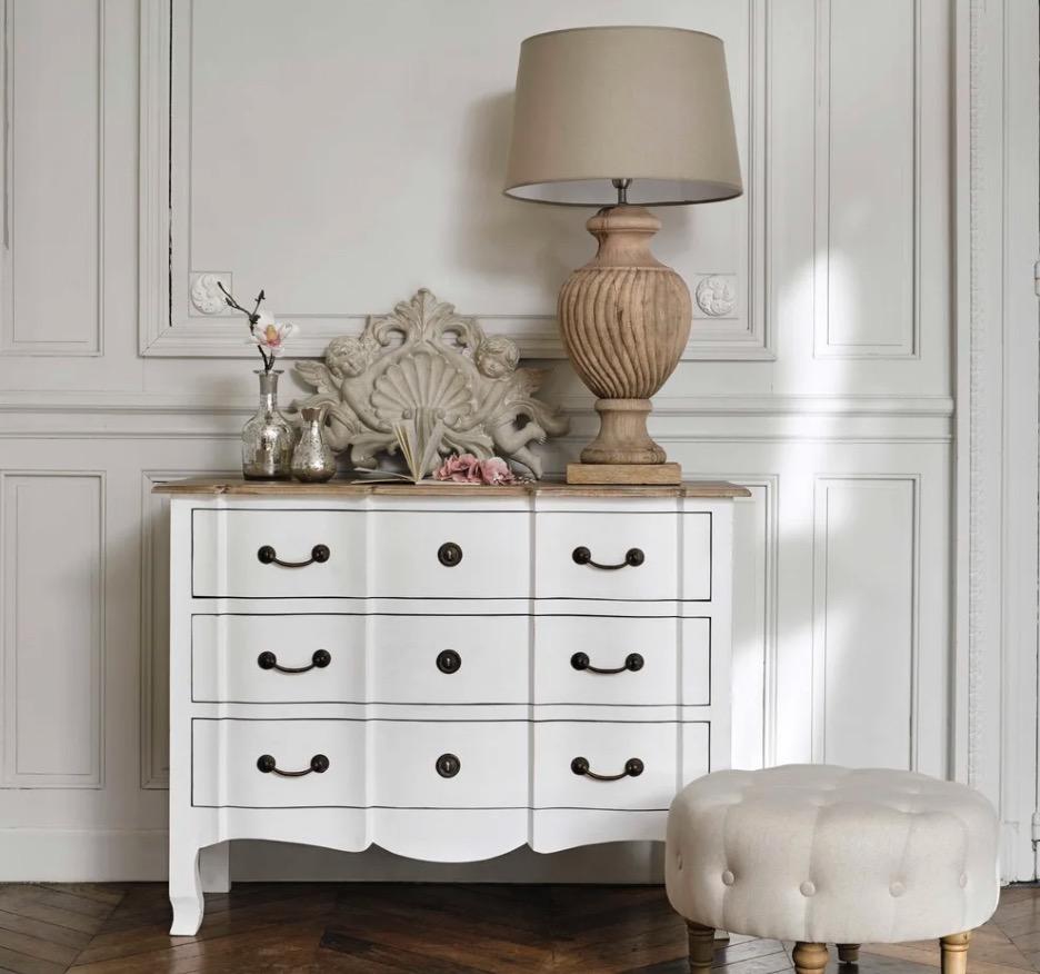 Cómoda de acacia y mango blanca Versalles