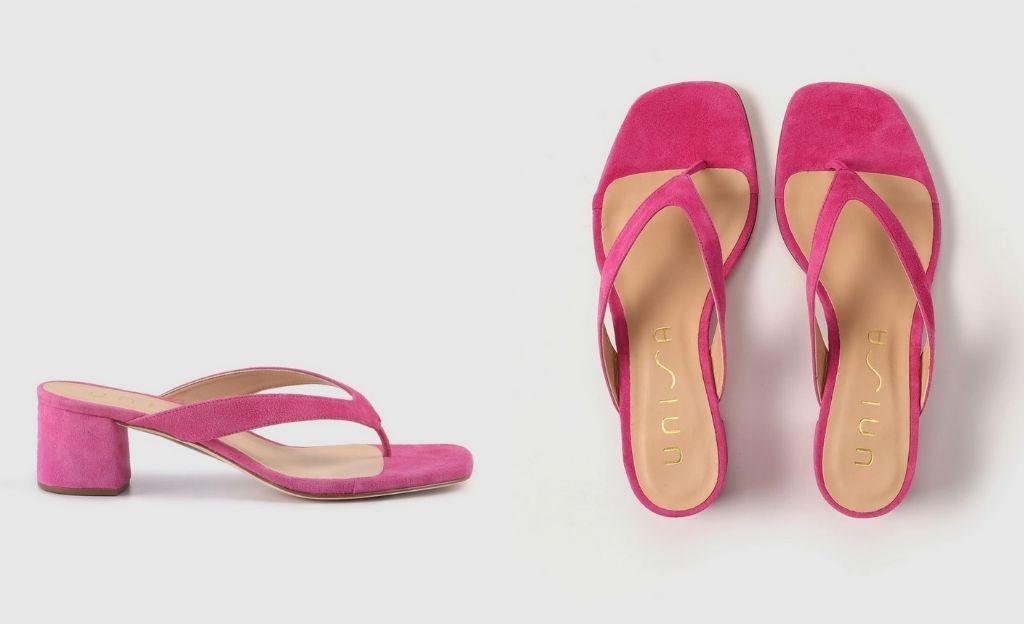 Sandalias de tacón de muejr Unisa de piel en color fucsia