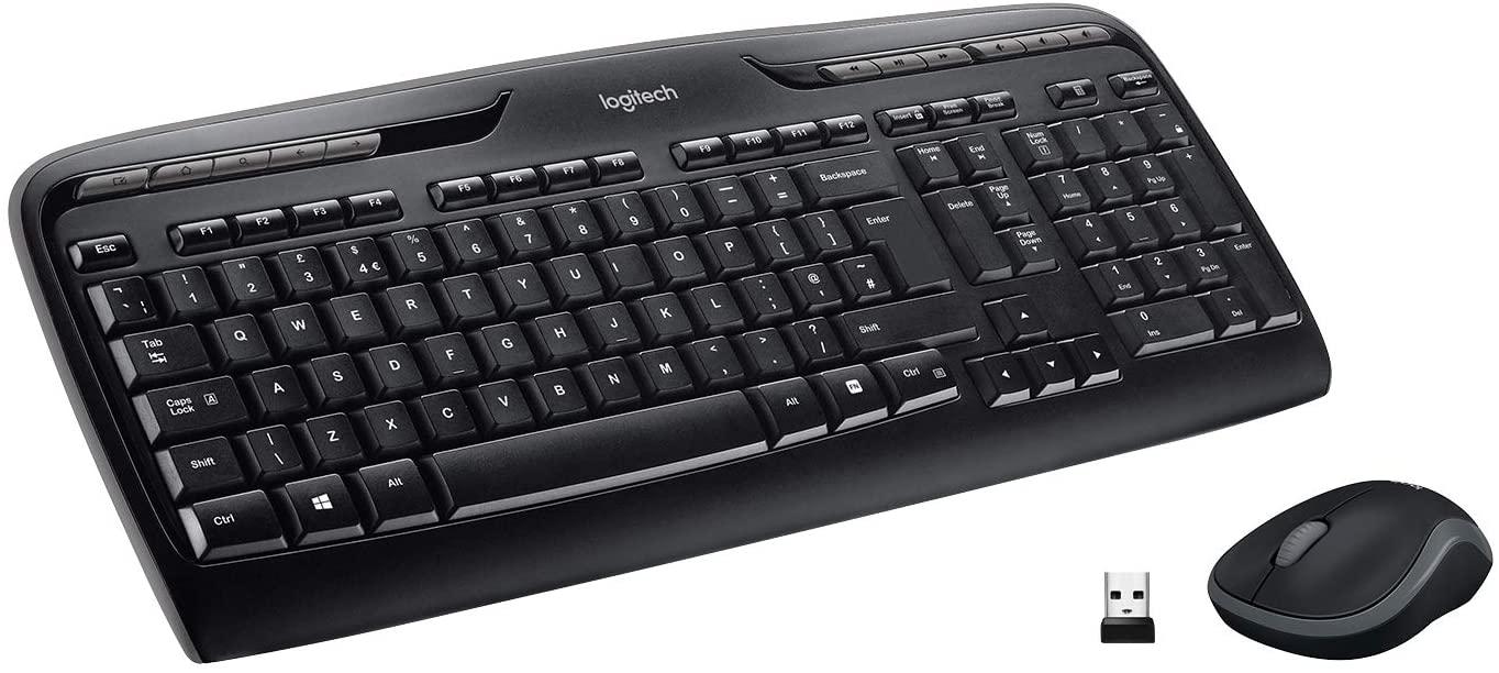 Logitech MK330 Combo Teclado y Ratón Inalámbrico para Windows, 2.4 GHz con Receptor USB Unifying, Ratón Inalámbrico Portátil, Teclas Multimedia, PC/Portátil, Disposición QWERTY Español, Negro