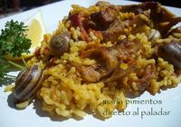 Arroz con conejo y caracoles. Receta tradicional murciana
