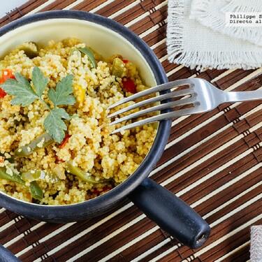 Ensalada de sémola y pimientos. Receta vegetariana fácil