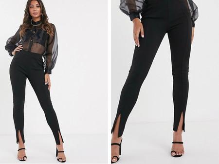 Pantalones Pitillo Con Bajo Con Abertura En Negro De Prettylittlething