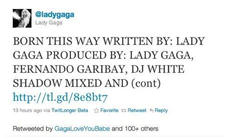 Lady Gaga no canta, twitea