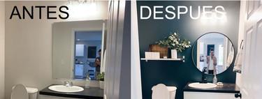 Antes y Después de un cuarto de baño en el que apuestan (y ganan) pintando las paredes de un color oscuro