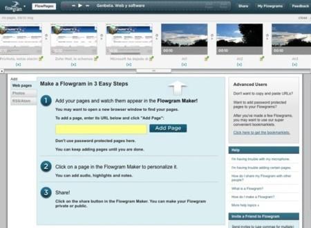 Flowgram, pase de diapositivas de sitios web e imágenes