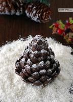 Cómo hacer piñas de cereales de chocolate y mazapán. Receta de Navidad