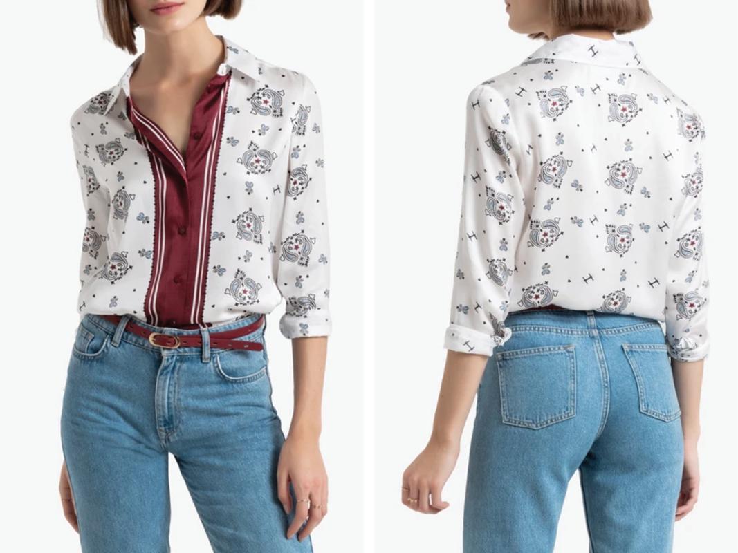 Camisa con estampado fular, de manga larga