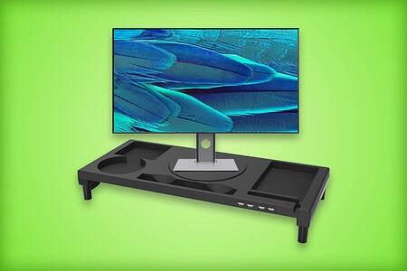 Base para monitor con centro giratorio y puertos USB de oferta en Amazon México: mantén organizado tu escritorio por 634 pesos