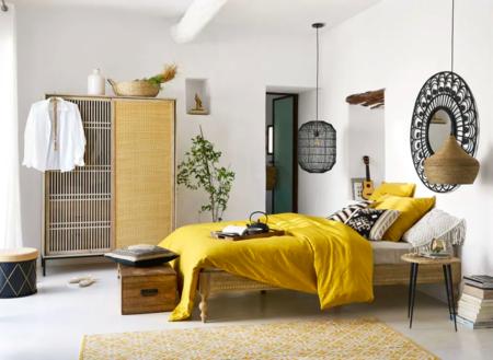 Alfombra De Algodon Tejido Jacquard Con Motivos Graficos Amarillos Y Crudos