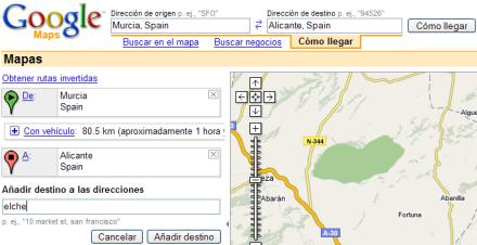 Rutas en Google Maps con múltiples destinos