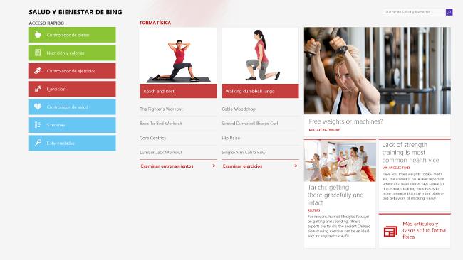 Salud y bienestar, una Bing App para Windows 8.1