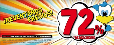 Aprovecha los descuentos del 72% en Juguetilandia