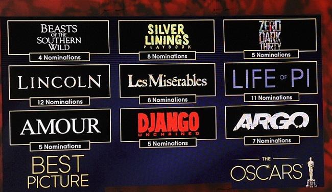 Imagen con las nueve nominadas a los Oscar 2013