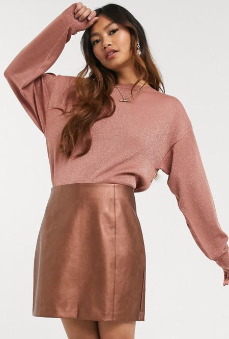 Jersey con mangas de murciélago en dorado rosa de Oasis