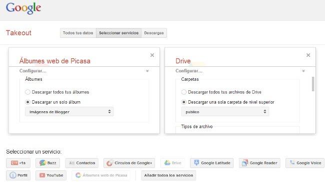 Google Takeout permite bajar carpetas o álbumes individuales y conserva la jerarquía de carpetas de Drive
