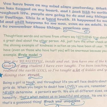 La inspiradora carta que escribió una profesora a su alumna, después de que sus compañeras se burlaran de su peso