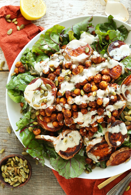 Healthy Roasted Sweet Potato Crispy Chickpea Salad With A 3 Ingredient Creamy Tahini Dressing Vegan Glutenfree Plantbased Healthy Recipe Dinner Salad