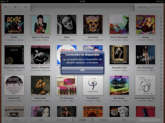 Contenido no disponible, esto es lo que aparece si conectamos un iPod a un iPad por el Camera connection kit