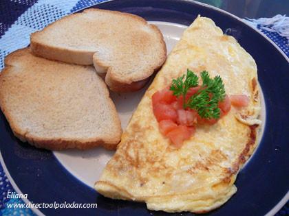 Omelette de queso cheddar y tomate. Receta