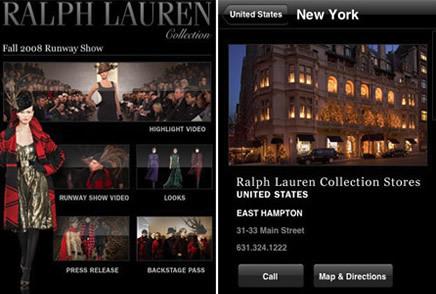 La colección de Ralph Lauren en el iPhone o iTouch