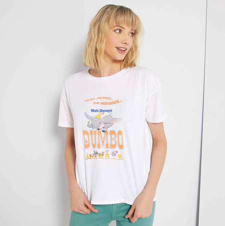 Kiabi Camiseta Dumbo Disney Letras Naranja Mujer Pvp 9eur
