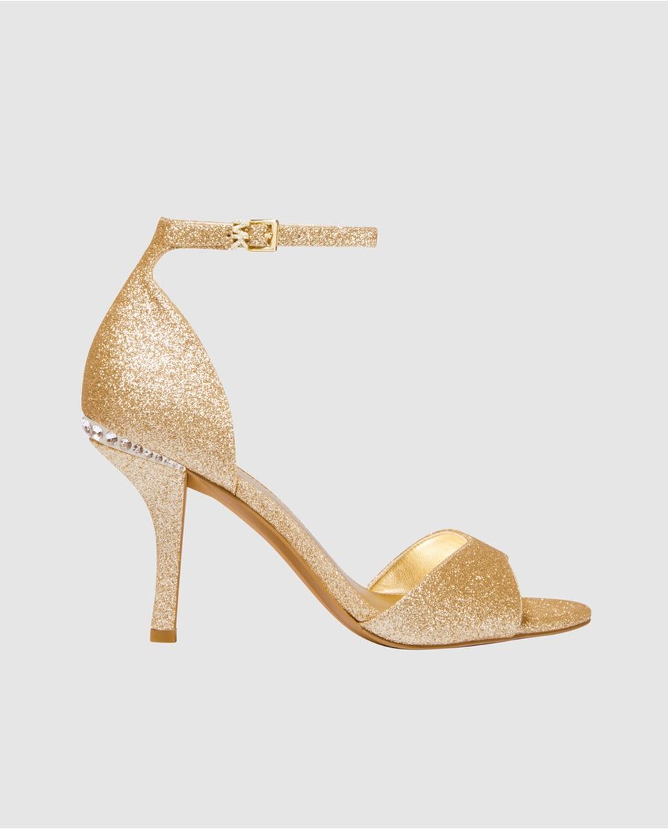 Sandalias de tacón de Michael Kors de glitter oro