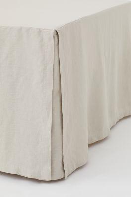Falda de cama en lino lavado