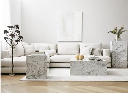 Lesley, una mesa auxiliar muy versátil con efecto mármol que es un auténtico capricho