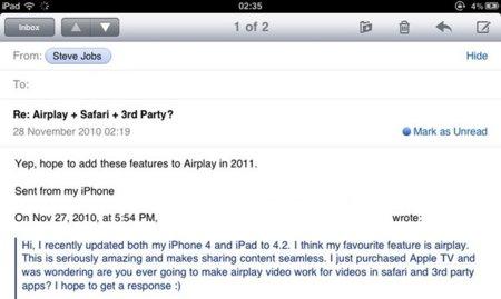 Jobs asegura en uno de sus correos que AirPlay llegará a Safari y el resto de desarrolladores el próximo año