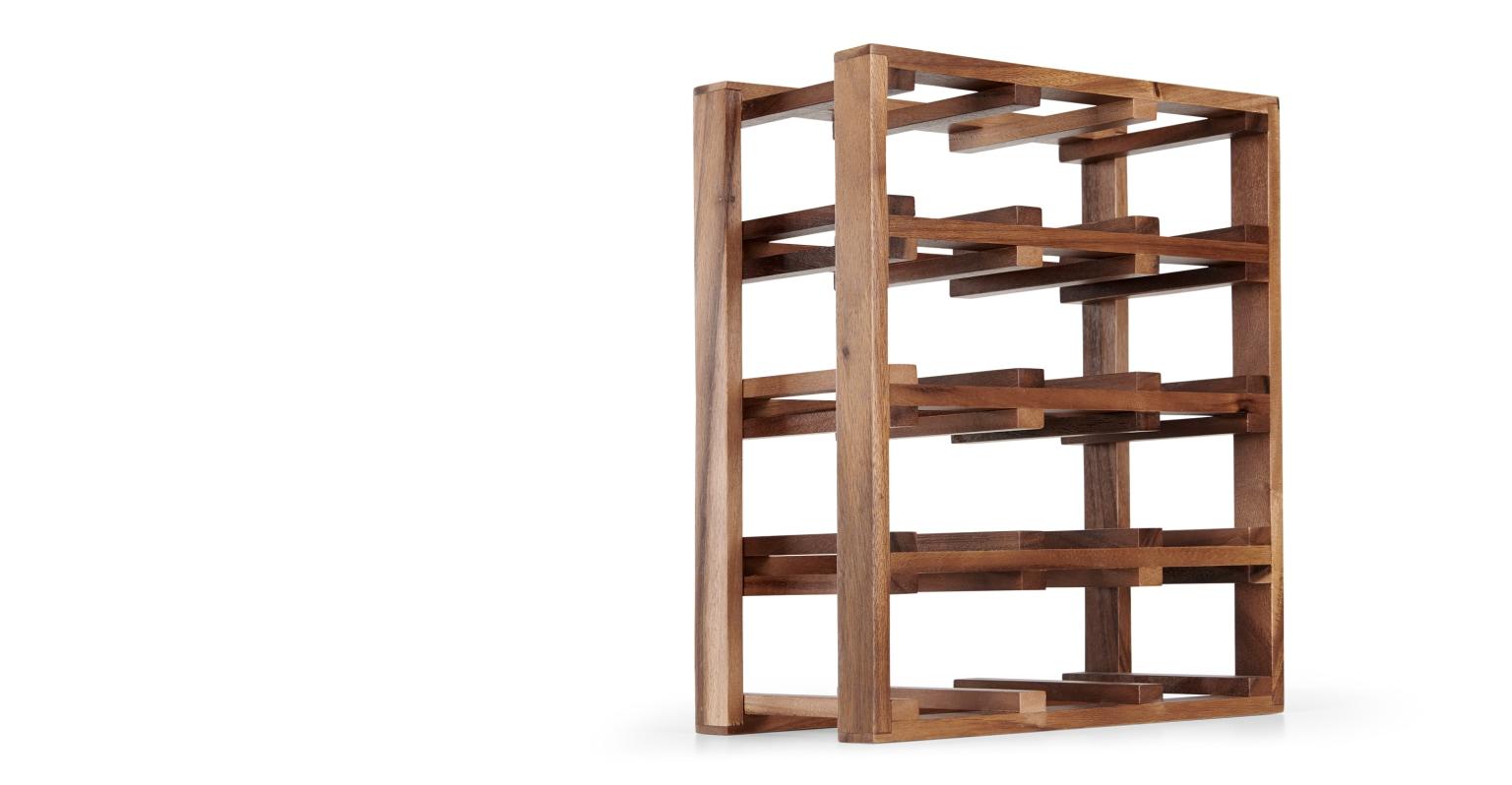 Botellero para 12 unidades de madera de acacia Clover, oscuro