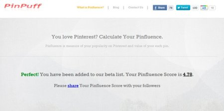 Pinpuff, calcula tu influencia en Pinterest