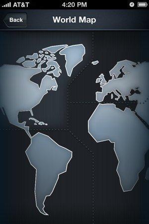 Mapa del mundo para elegir aerolínea por zona geográfica en Jets
