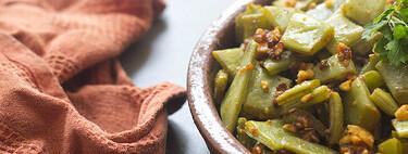 Judías verdes con sobrasada y almendras, receta