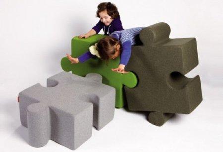 Muebles infantiles con forma de puzzle de Buzispace