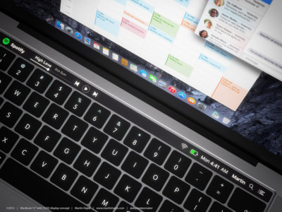 Éste detallado render muestra cómo sería el MacBook Pro con el panel táctil