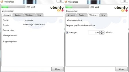 Preferencias Ubuntu One Windows Beta