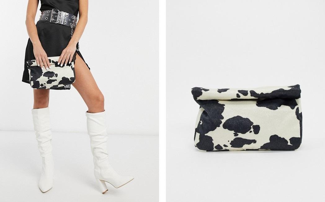 Cartera de mano con estampado de vaca
