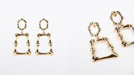 Pendientes Lola Casademunt En Color Oro Con Forma De Rectangulo Irregular