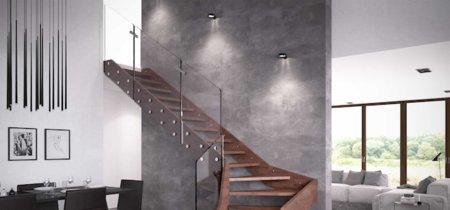Madera y cristal, la combinación perfecta para una escalera sólida pero visualmente ligera