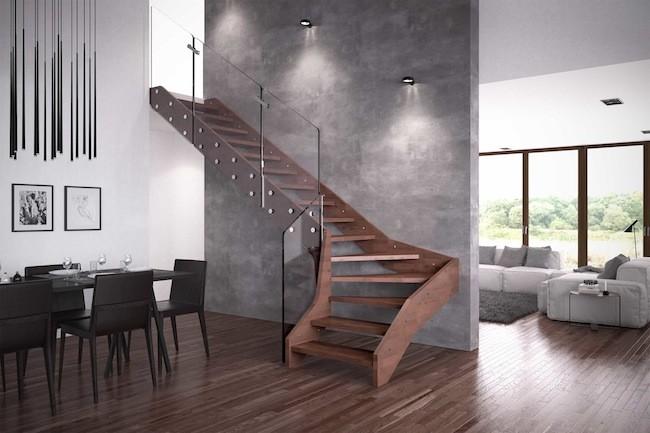 escalera madera cristal