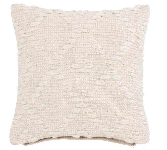 Funda de cojín de lana y algodón color crudo 40x40 cm