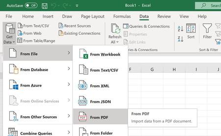 Microsoft Excel ya puede importar datos y tablas directamente desde archivos PDF