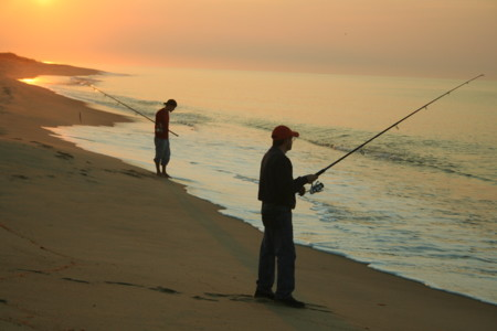 Fishing South Beach Early Morning Low Tide Katama During Fishing Derby On Martha S Vineyard Usa